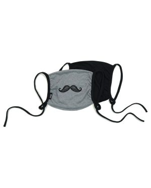 Set of 2 face masks - mustache and blank