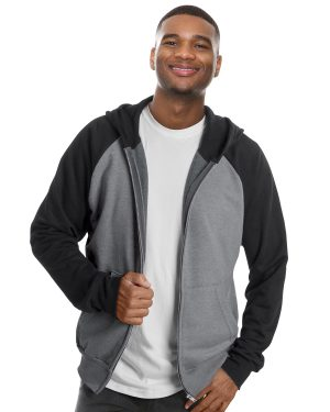 Hooded full zip and raglan sleeve sweater unisex