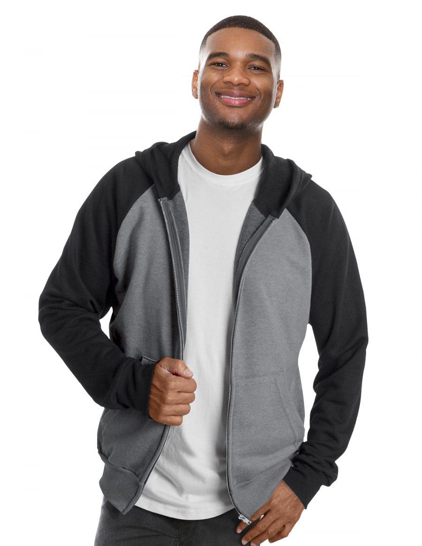 Hooded full zip and raglan sleeve sweater unisex
