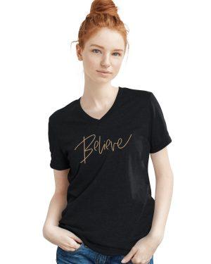 V neck t-shirt - Believe - black