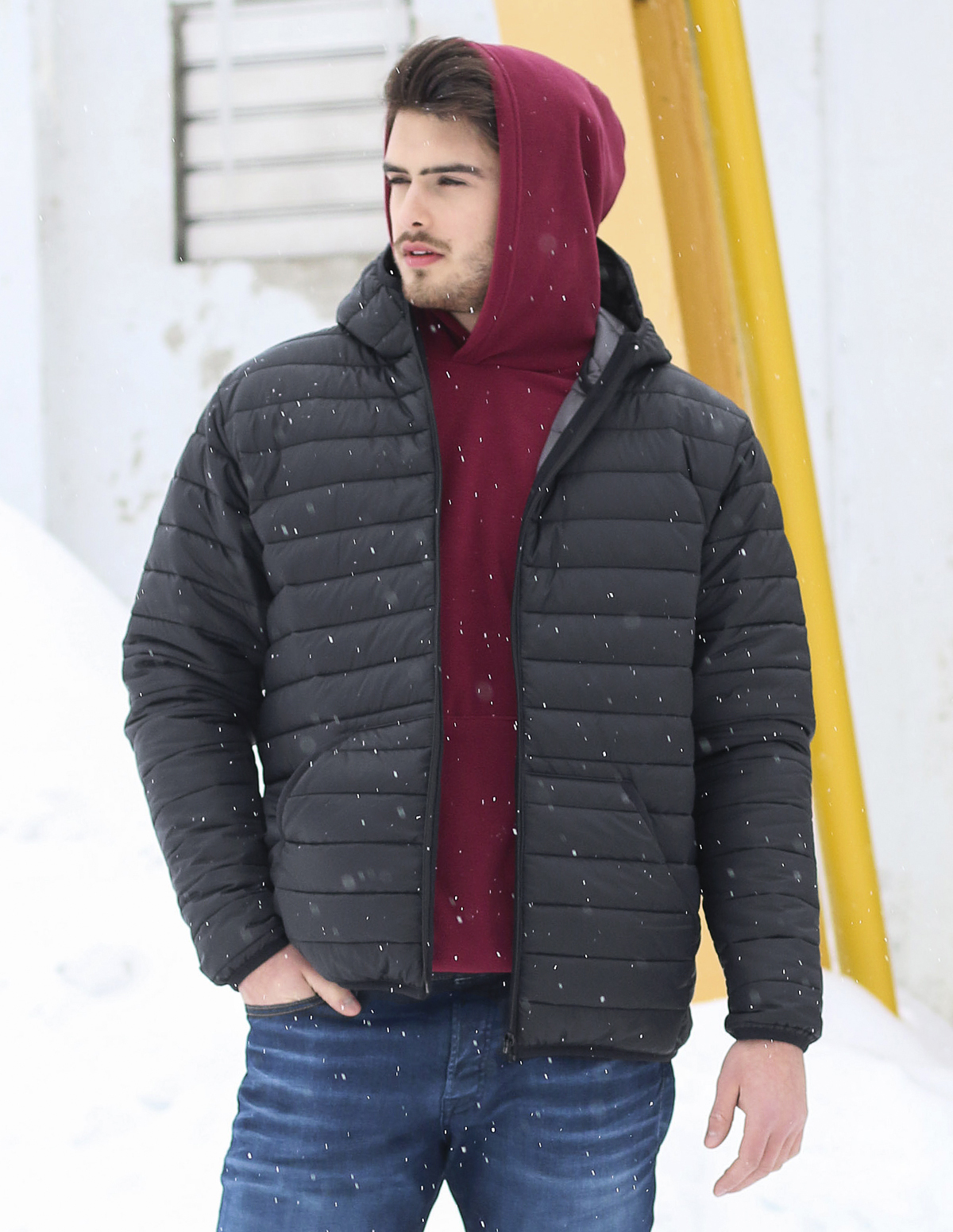 Hooded quilted jacket unisex